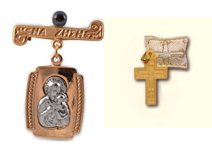 skaplerz Matki Boskiej z Dzieciątkiem i niebieski okiem, krzyżyk z filachto