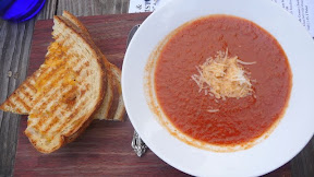 Grilled cheese and tomato soup at Hop & Vine