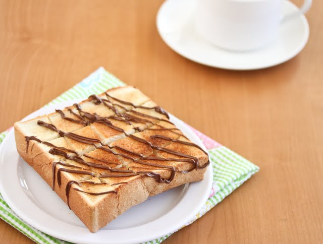 brick toast garnished with melted chocolate