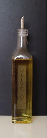 Glass Etched Olive Oil Bottle