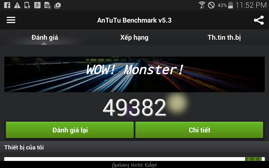 Bechmark điểm Antutu Samsung Galaxy Note Edge
