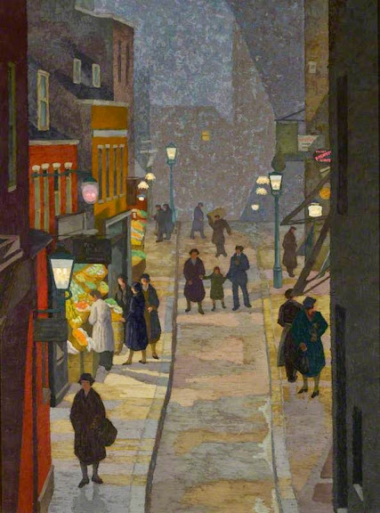 Charles Ginner - Flask Walk, Hampstead, at Night