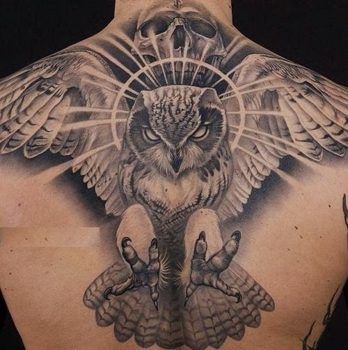 Owl tattoos with skull on back