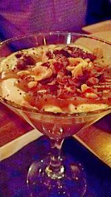 Toffee Budino with honeyed crème fraîche, toffee sauce, hazelnut pralines, chocolate sea salt