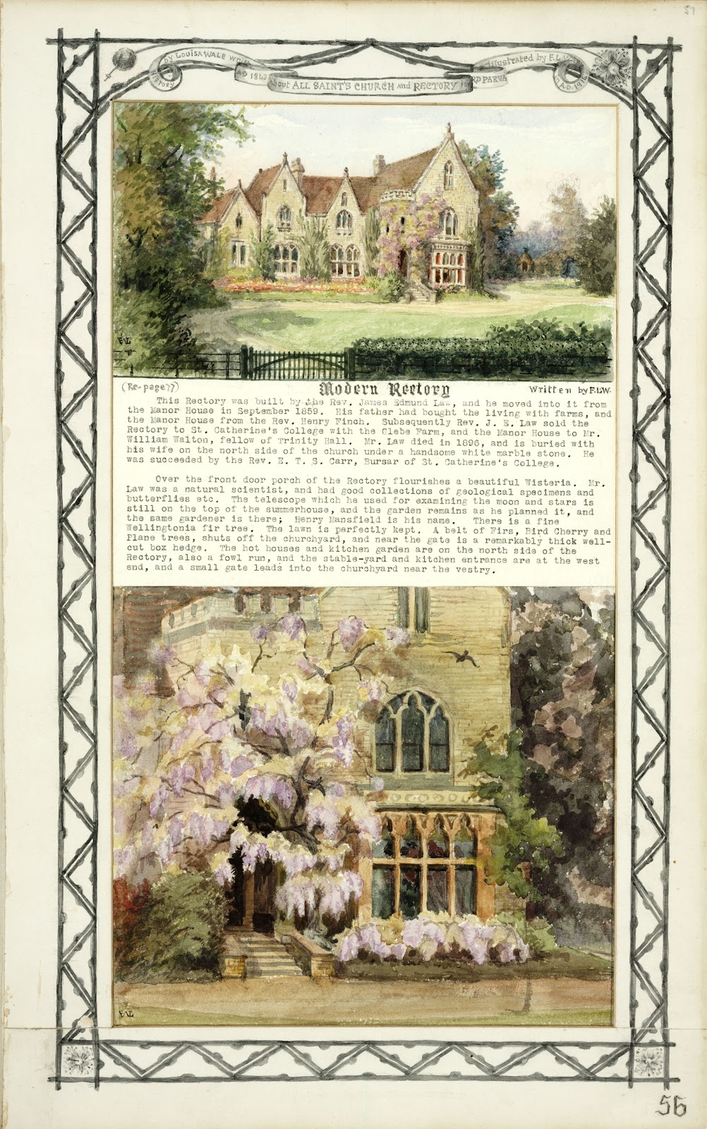 A Record of Shelford Parva by Fanny Wale P56 fo. 57, page 56: A coloured watercolour of 'Modern Rectory' and description of it with a larger watercolour of the windows and wisteria, within a picture mount [Mount E].  [fo.45, but without the title 'Modern Rectory']