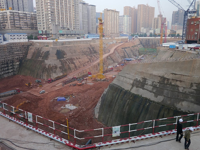Construction site for the Changsha International Financial Square (IFS) in 2013 is a much deeper pit