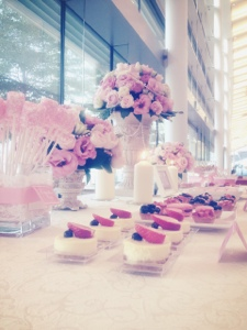 dessert buffet pink and white victorian themed wedding marina bay sands
