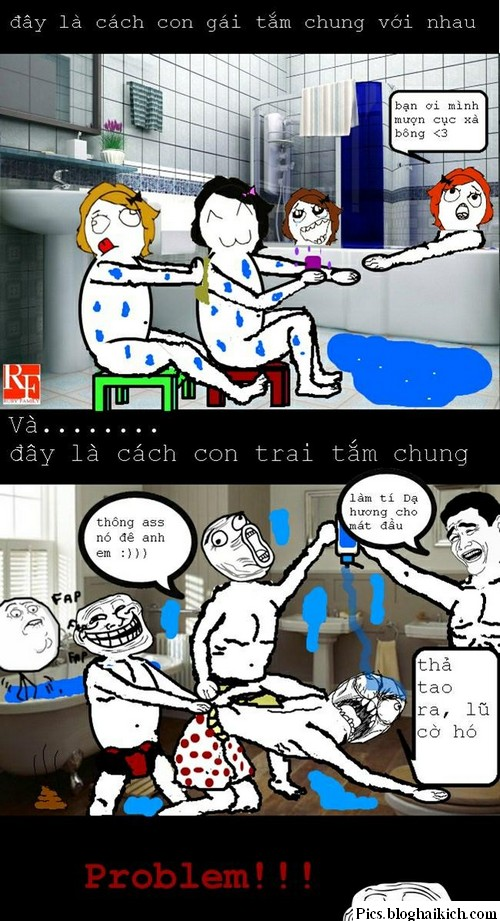 Troll chế hài: Khi con trai và con gái tắm