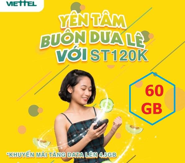Miễn phí đến 60GB Gói ST120K Viettel