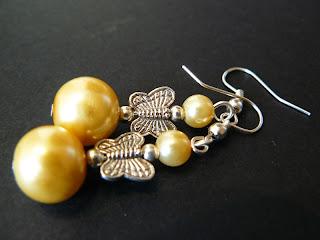 biżuteria z półfabrykatów - motylki w kolczykach