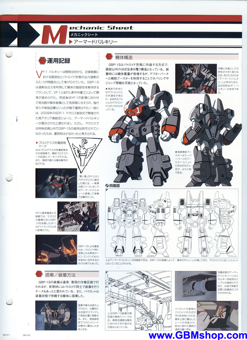 Macross GBP-1S Ground-Combat Protector Weapon System Armored Valkyrie Mechanic & Concept Macross Chronicle