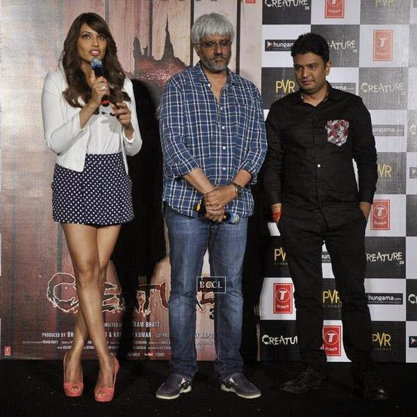 Bipasha Basu speaks as Vikram Bhatt and Bhushan Kumar look on during the trailer launch of Bollywood movie Creature 3D, held at PVR, on July 16, 2014.(Pic: Viral Bhayani)