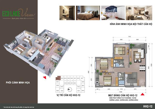 Thiết kế căn hộ 12 tòa HH-02 Eco Lake View