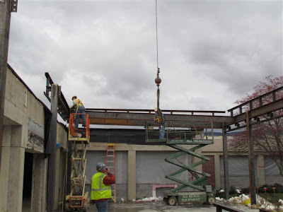 Steel being erected for courtyard edition