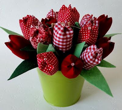 tulipanes de tela