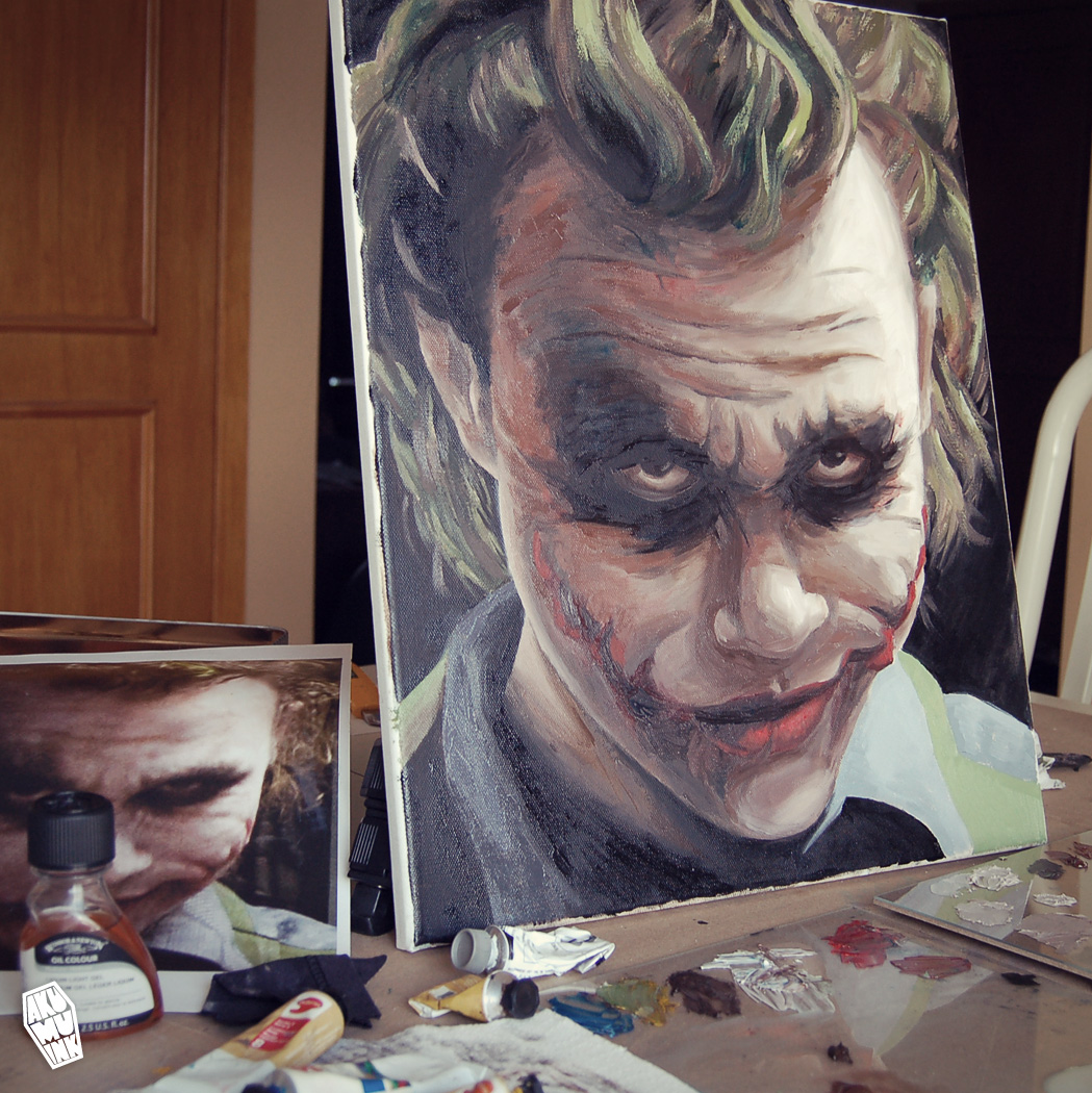 joker, joker paint, joker painting, joker nightmare, joker arkham art, joker art, joker face art, batman art,