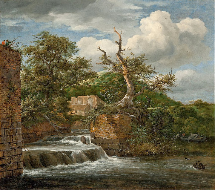 Jacob van Ruisdael - Landscape with a mill-run and ruins - Google Art Project