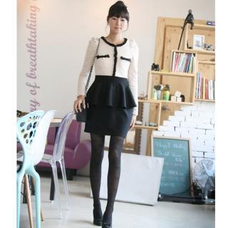 YESSTYLE Part I : stamgirl Contrast-Trim Peplum Tweed Dress