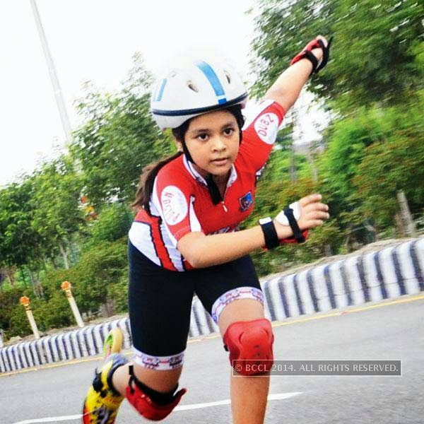 A skater from the Roller Skating Academy, practice in Noida.