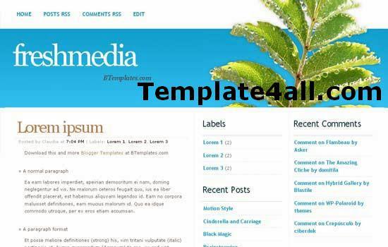 Free Fresh Media Blue Blogger Web2.0 Template