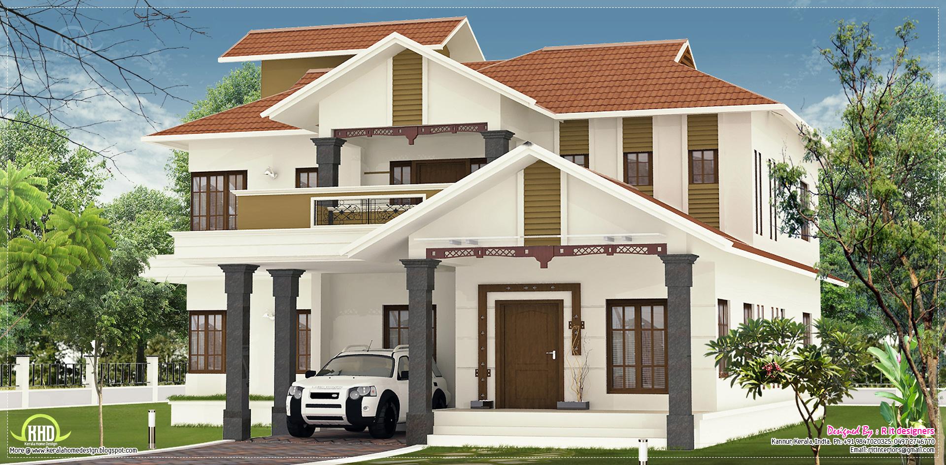Nice villa elevation design in 2600 kerala home for Villa elevation photos