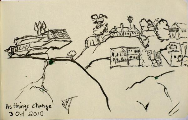 Houses on the steep hillside.