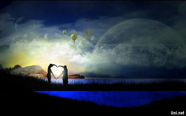 ảnh tình yêu lãng mạn dưới trăng