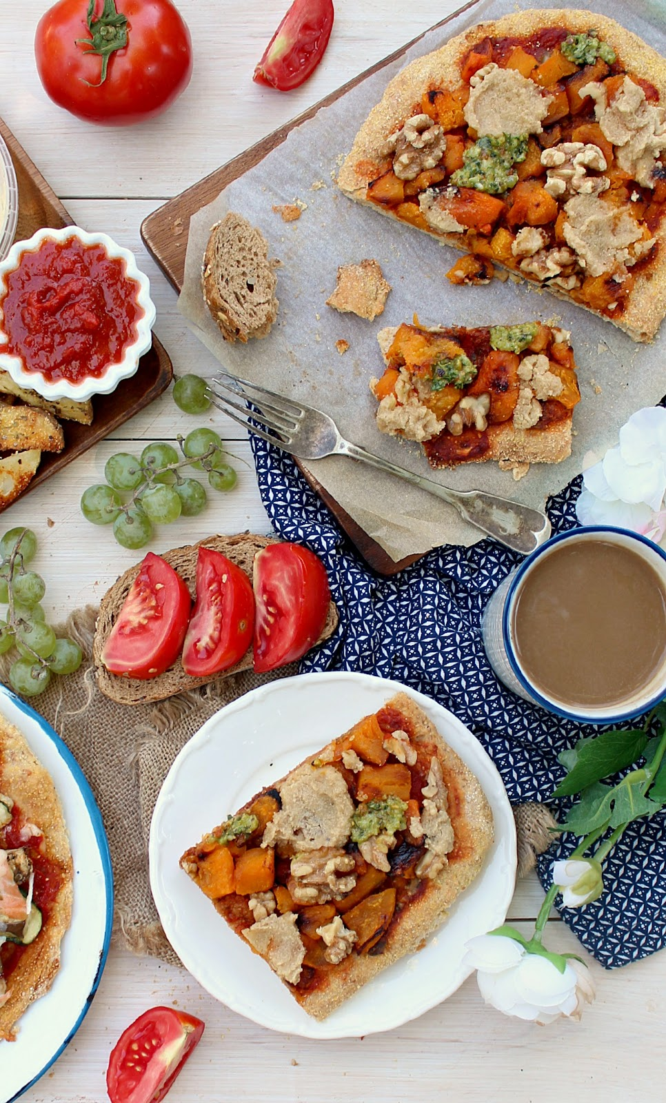 Vegan Butternut Squash, Pesto and Walnut Pizza with Garlic Cashew Cheese