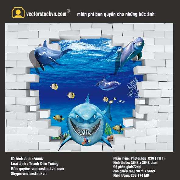 Tranh cá heo 3D đại dương.