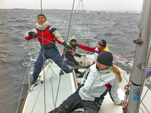 J/24 women crew sailing in chilly weather