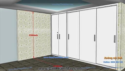 <strong><em>Tủ âm tường màu trắng kết hợp cửa lùa và cửa mở</em></strong>-2