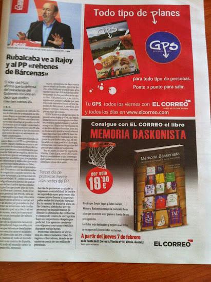 """EL LIBRO MEMORIA BASKONISTA. """"Sorteo por el sexto aniversario"""" Libro+el+correo"""