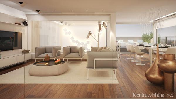 Phòng khách căn hộ penhouse mang phong cách Scandinavia