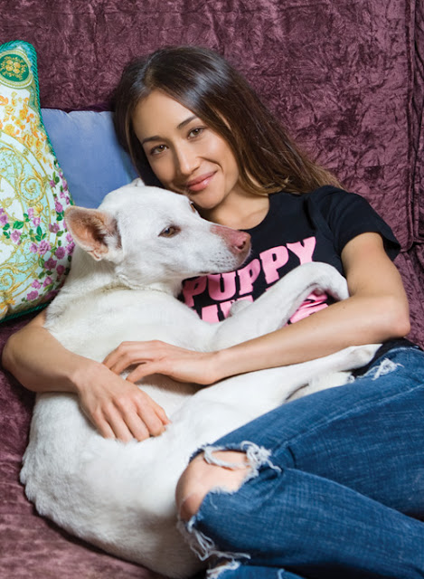 Maggie Q and one of her dogs