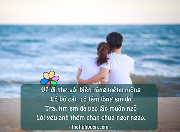 ảnh status cô gái mời chàng trai về với biển yêu thương