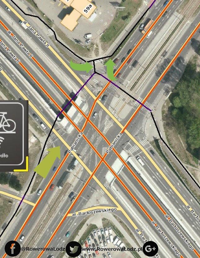 Rowerzyści jadący na południe, nie są zliczani, gdyż ustawiono je za skrzyżowaniem (w stronę Rudy).