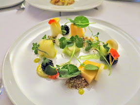 Bouillon Bilk in Montreal, melons, blackberries, pistachios, goat cheese, heart of palm