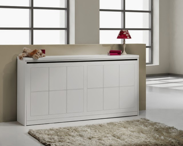 Cama plegable simple lacada blanca for Cama mueble ikea