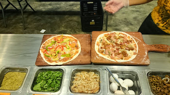 Making my own pizza at Pizza Republic