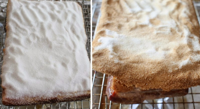 photo collage showing the salt crust before and after it's baked