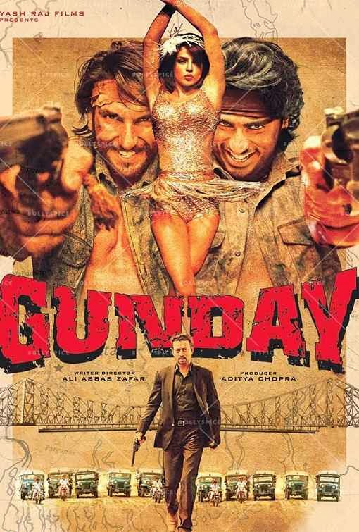 Poster Of Hindi Movie Gunday (2014) Free Download Full New Hindi Movie Watch Online At Alldownloads4u.Com