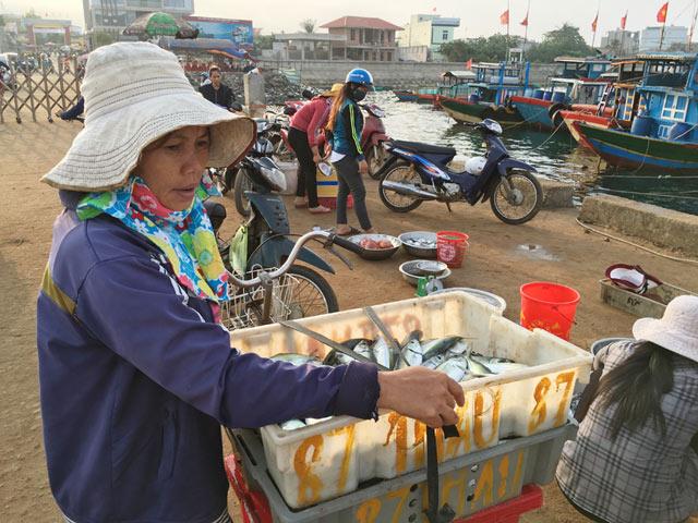 Chuẩn bị đưa cá mua tại cảng về chợ để bán.