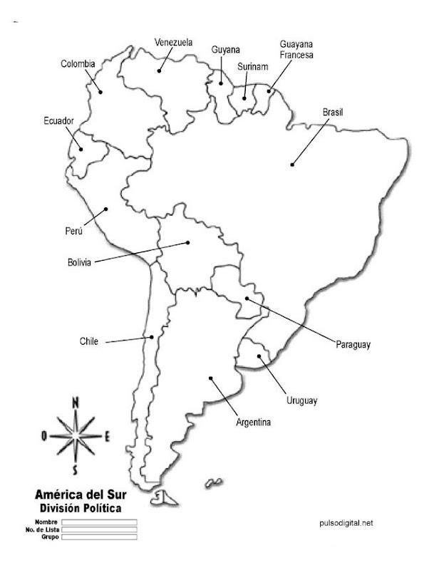 Mapa de Amrica del Sur con divisin poltica y nombres de los