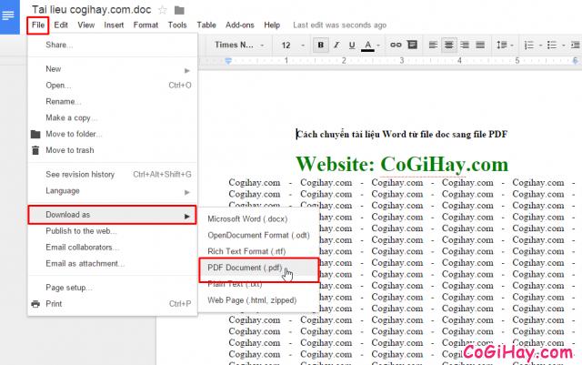 chuyển file word .doc sang file .pdf
