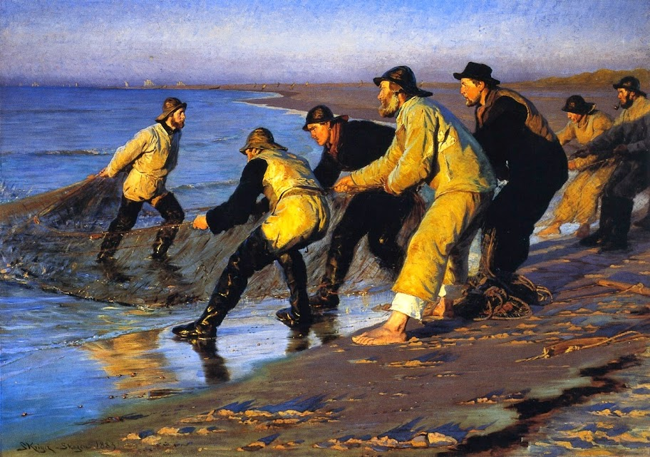 Peder Severin Krøyer - Fishermen Hauling the Net on Skagen's North Beach