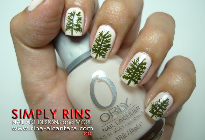 Pine Trees Nail Art Design