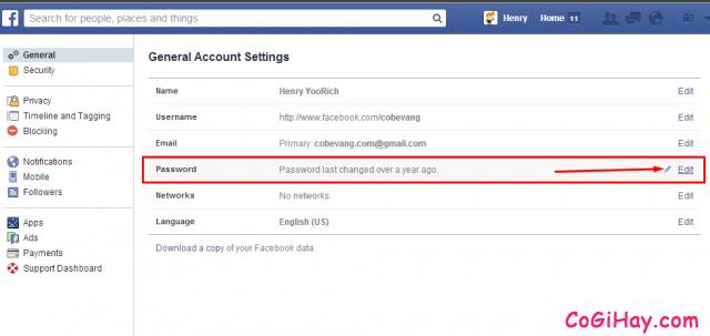 sửa mật khẩu facebook