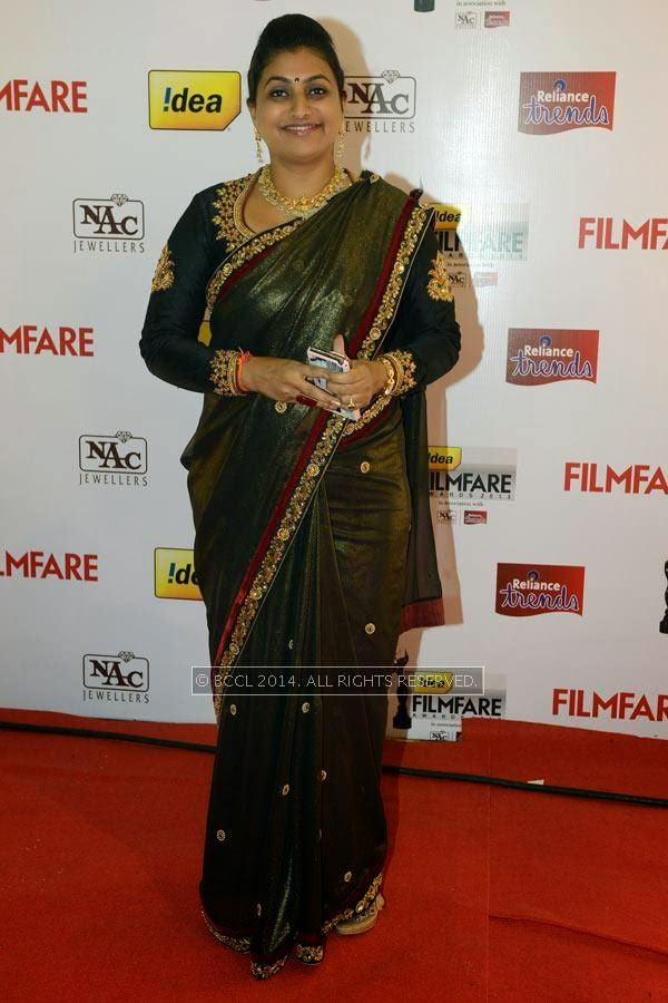 Actress Roja poses as she arrives for the 61st Idea Filmfare Awards South, held at Jawaharlal Nehru Stadium in Chennai, on July 12, 2014.