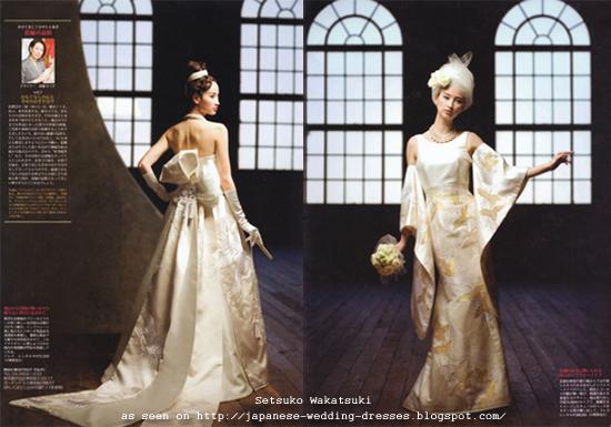 wedding: Western-Style Kimono Fabric Wedding Dresses from Setsuko ...
