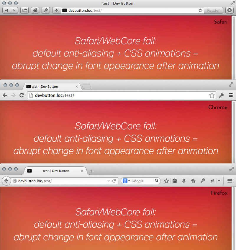 Safari bug: text suddenly appears bold after css animation completes (antialiasing change)